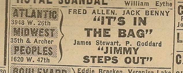 Newspaper ad from Aug. 15, 1945 Chicago Herald-American showing what was playing at the Peoples Theater