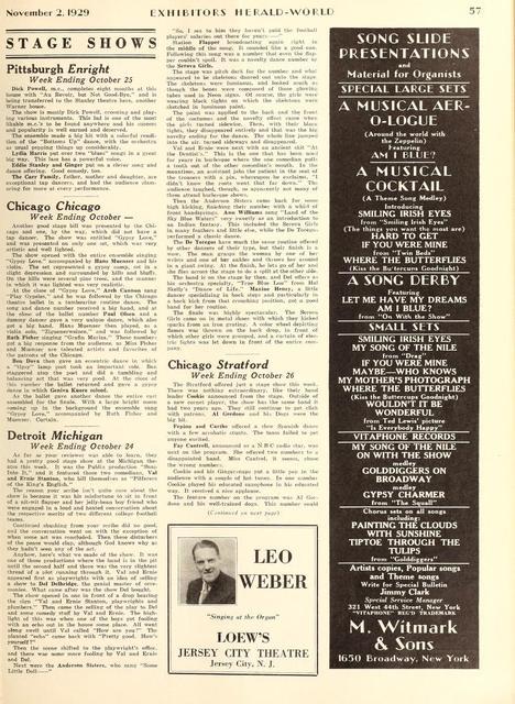 Organist Leo Weber 1929
