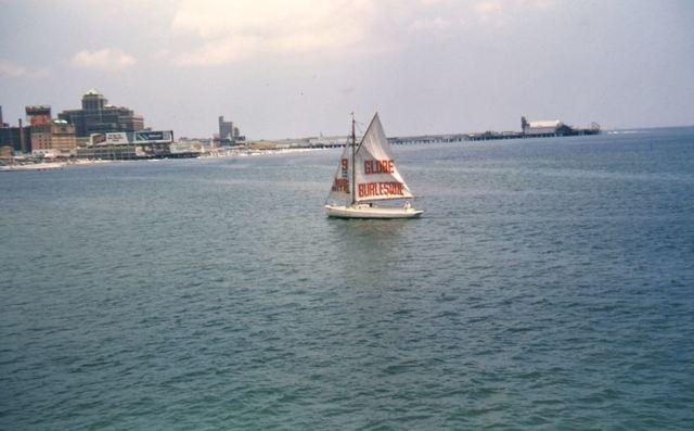 Sailboat promoting Globe Burlseque. 1950s photo courtesy of Wm Walsh.