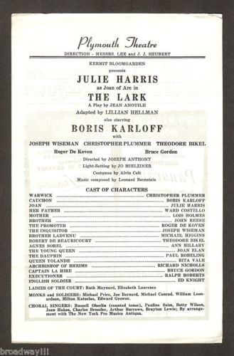"1955 Playbill page and copy courtesy of eBay seller ""broadway!!!""."