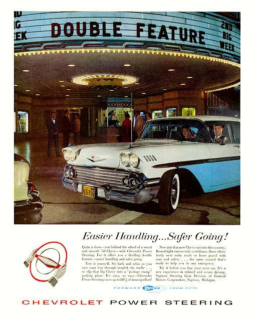1958 Chevrolet print ad featuring the Regency Bruin Theatre marquee.