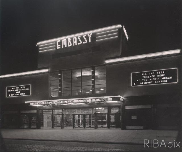 The Embassy Cinema - Facade by Night