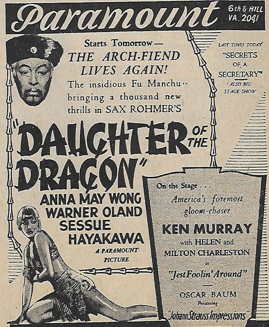 DAUGHTER OF THE DRAGON(1931)