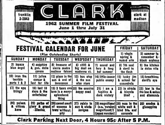 Clark Theatre schedule  June 1,  1962