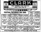 Clark Theatre schedule  June 1,  1962