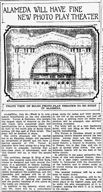 Alameda Theater sketch & article