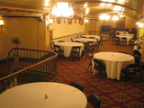 """[""""Golden State Theatre mezzanine set up for a reception""""]"""