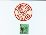 Cinestage logo and opening night ticket