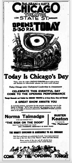 Newspaper ad from the Chicago Tribune Oct. 26, 1921 Wednesday, Pg. 13