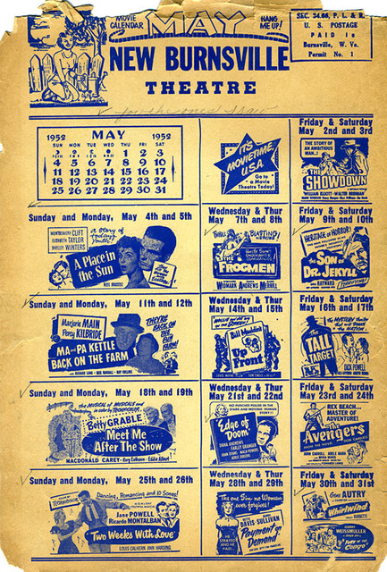 May 1952 Movie Calendar for New Burnsville Theater