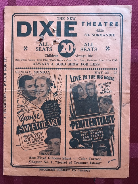 Flyer for Dixie Theater