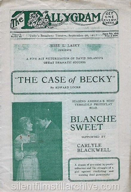 Program for Tally's Broadway Theatre, September 20, 1918
