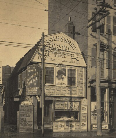 Undated photo of a building promoting Castle Square and other theatres.