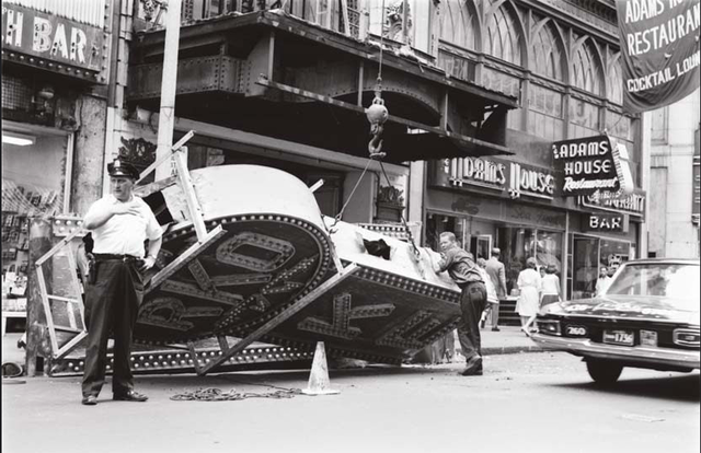 Removal of the RKO Keith's Theater sign in 1965.