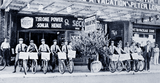 <p>Two stunts by the Loew's Poli Theatre as Western Union telegram deliverers promote the latest film while an apple tree provides promotional efforts in downtown Bridgeport circa 1939</p>