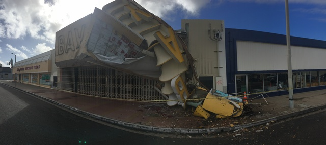 Bay Theater Marquee Collapses