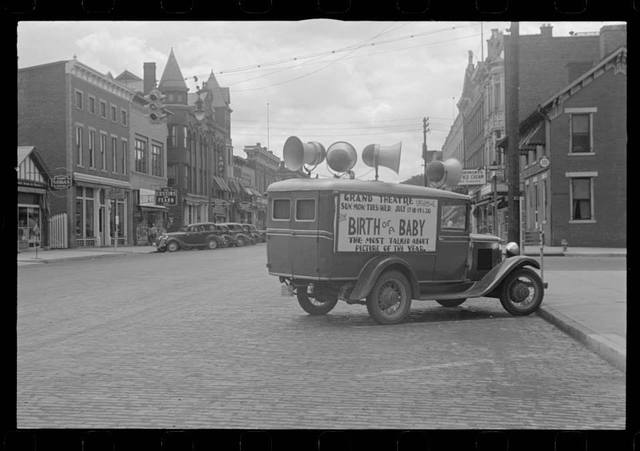 """1938 photo in downtown Circleville promoting the Grand Theatre's showing of """"Birth Of A Baby""""."""