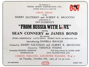 FROM RUSSIA WITH LOVE- PRESS SHOW TICKET