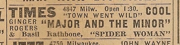 Newspaper ad from Aug. 15, 1945 Chicago Herald-American showing what was playing at the Times Theatre.