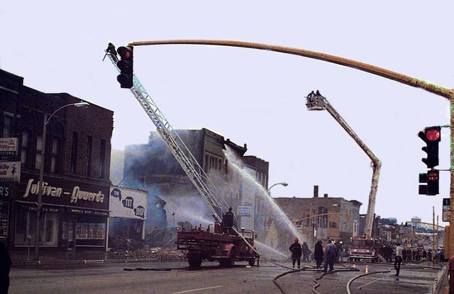 Firefighters putting out the Iowa Theater fire on May 12th, 1975.