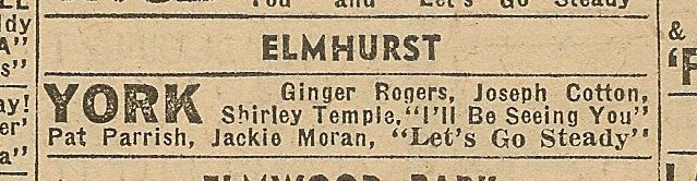 Newspaper ad from Aug. 15, 1945 Chicago Herald-American showing what was playing at the York Theatre.