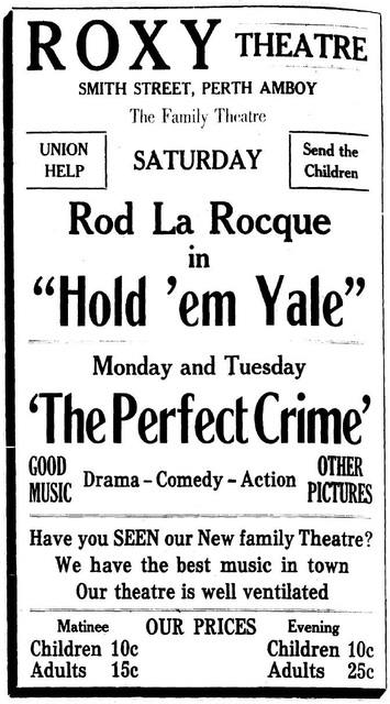 Roxy Theatre Ad, Perth Amboy NJ, September 14th 1928