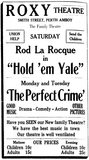 Roxy Theatre Ad, Perth Amboy NJ, September 14th 1928
