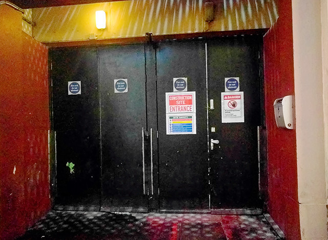 "Cineworld/Empire Leicester Square - Leicester Street Fire Exit ""Construction Site"" Notice"