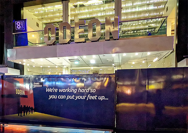 Odeon Leicester Square facade during 2018 refurbishment - LSQ hoarding - External view of works in circle foyer