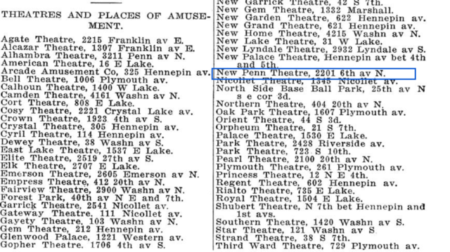 1916 Minneapolis city directory theater listing for 2201 6th Av N