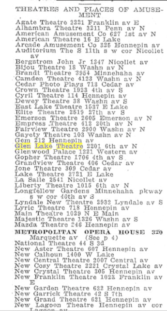 1918 Minneapolis city directory theater listing for 2201 6th Av N