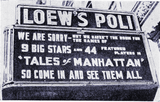 <p>Manager Joe Boyle has fun with this marquee at the Loew's Poli in Norwich circa 1942</p>