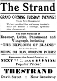 Ad for opening of the Strand Theatre (Formerly Theatorium) 04-03-1915
