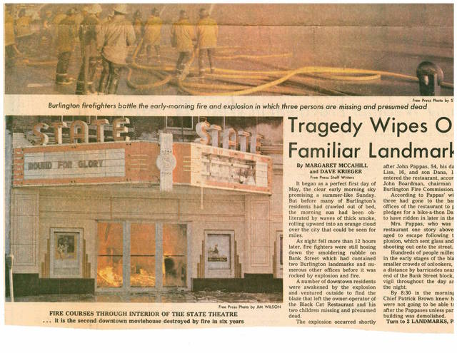 The State Theater burning on May 1, 1977