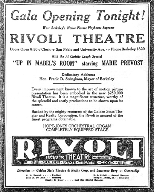 Rivoli Theatre opening ad, October 21, 1926