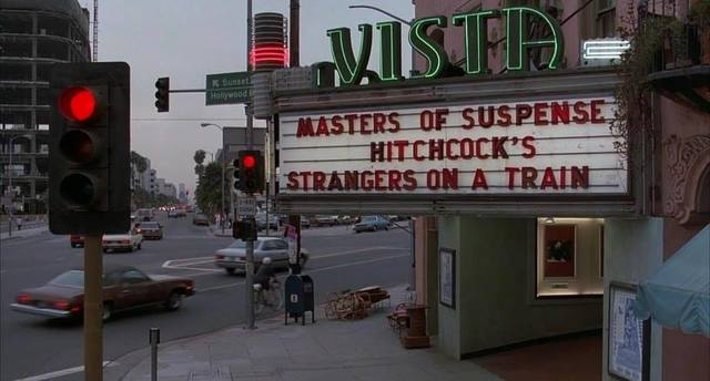 "Screen grab of the Vista Theatre in ""Throw Momma From The Train""."