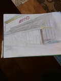 My beautiful drawing of  the AMC Bay Plaza movie theater