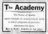 """[""""Academy Theatre grand opening announcement""""]"""