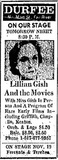 <p>On November 5, 1969 legendary screen and stage actress Lillian Gish appeared at the Durfee Theatre in Fall River.</p>