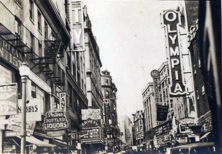 Olympia Theatre exterior with the nearby Gayety Theatre across the street