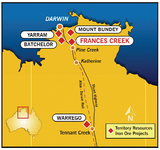 Map showing the location of The Warrego Mine & Drive In Theatre - NT Australia