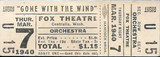"Fox Theatre ticket for the original release of ""Gone With The Wind"""