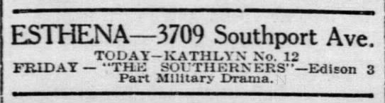 Esthena Theatre newspaper ad in 1914