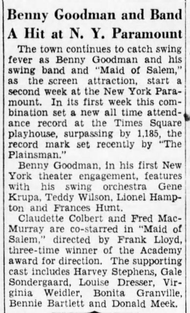 March 1937 Benny Goodman Orch