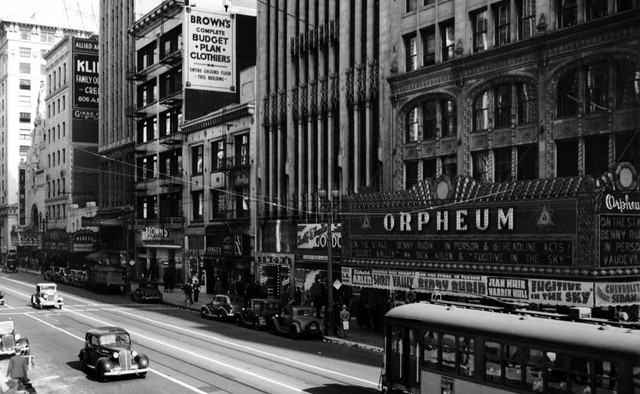 Orpheum Theatre exterior with the nearby Rialto and Tower Theatres