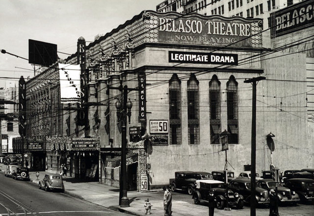Belasco Theatre exterior with the nearby Mayan Theatre