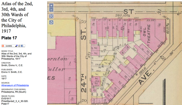 1917 City of Philadelphia map showing Owl Theatre