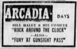 Last movie ad for the Arcadia, May 17, 1956