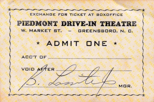 Free Ticket from the Manager - Piedmont Drive-in Theatre Greensboro, NC