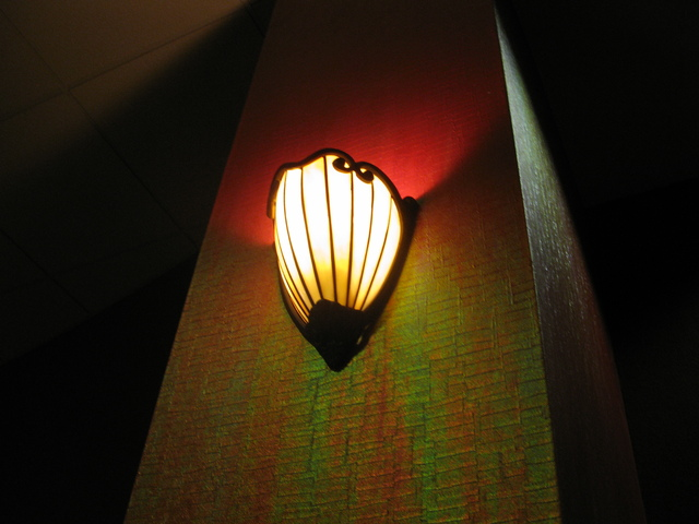 Sconce in foyer, the hallway auditoriums are entered from